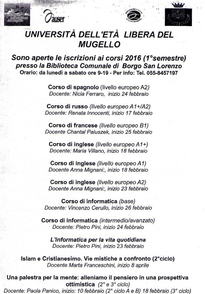 1° semestre 2016 - Riepilogo dei corsi organizzati a Borgo San Lorenzo
