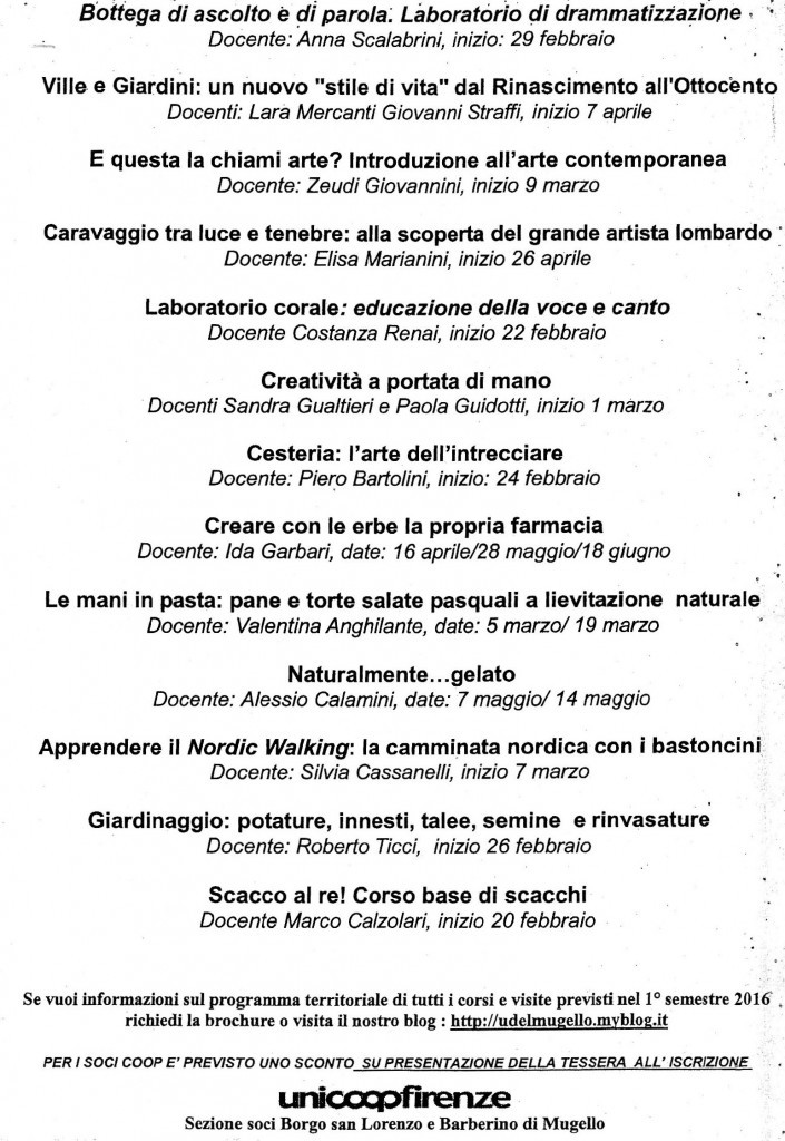 (2) corsi Borgo San lorenzo 1° semestre 2016