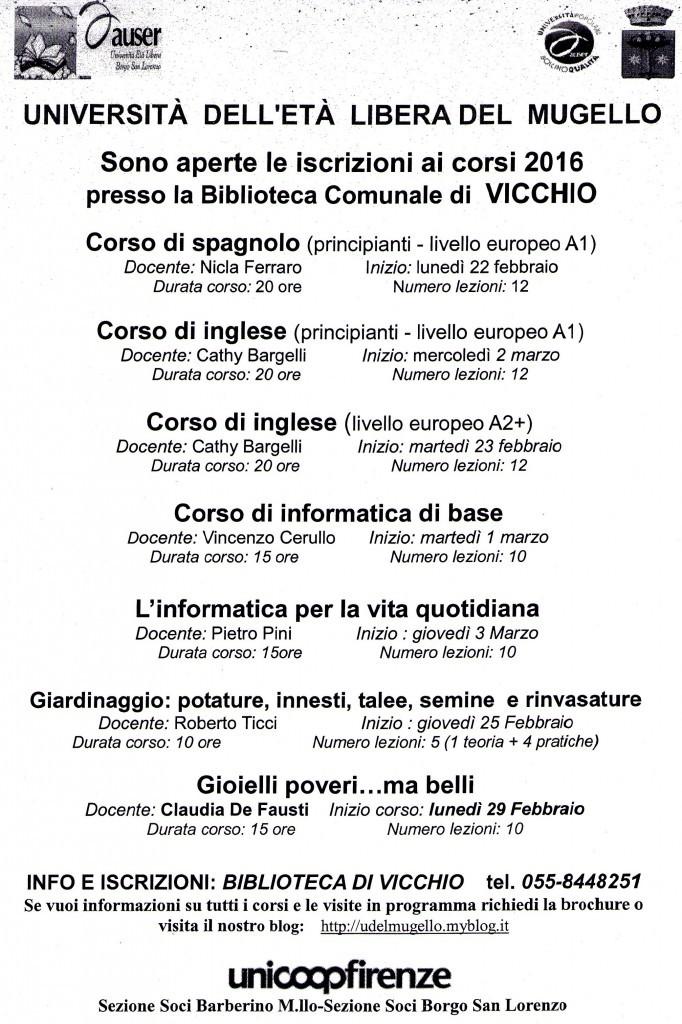 Corsi Vicchio 1° semestre 2016