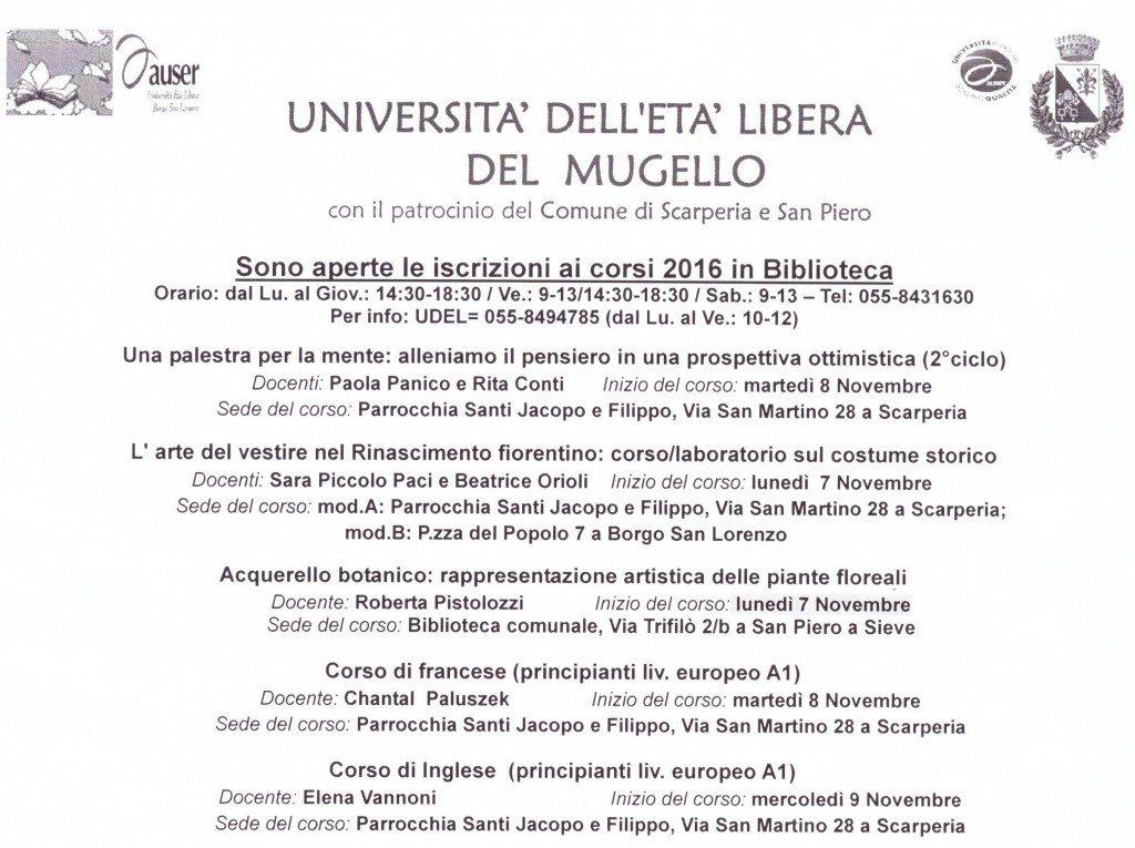 nuove date inizio corsi a Scarperia e San Piero a Sieve 2° semestre 2016
