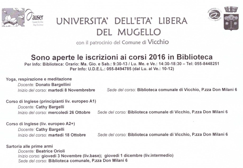 nuove date inizio corsi a Vicchio 2°semestre 2016