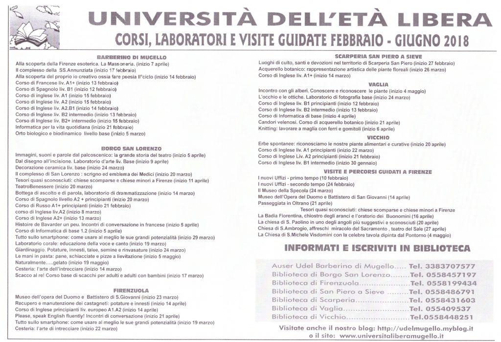 Date definitive di inizio dei corsi del 1° semestre 2018